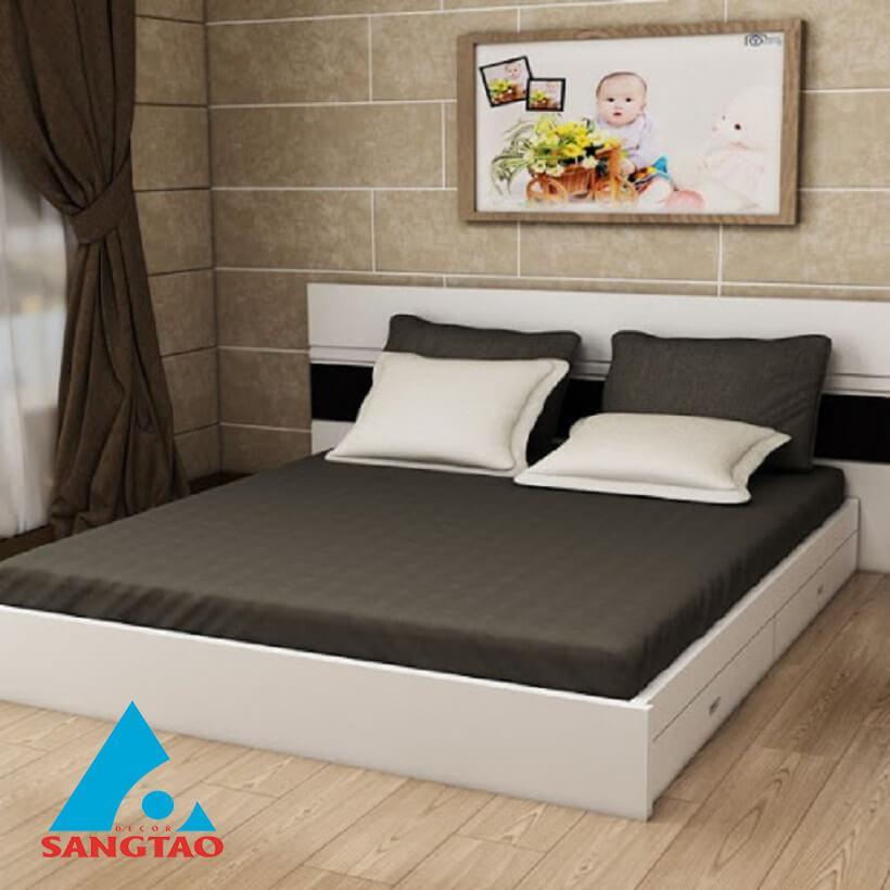 Giường màu trắng đen