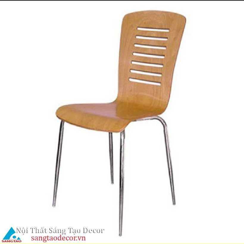 Ghế màu vân gỗ chân inox