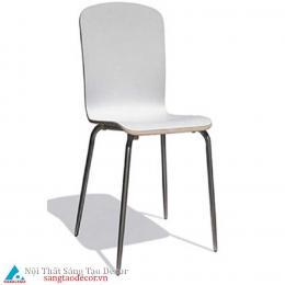 Ghế gỗ màu trắng chân inox
