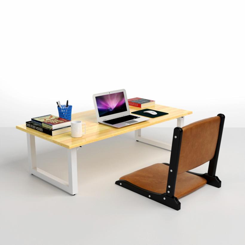 Bộ bàn bệt Rec-B chân trắng và ghế Pisu gấp gọn IBIE TCREB12W 120 x 60 x 35 cm (Nâu vàng)