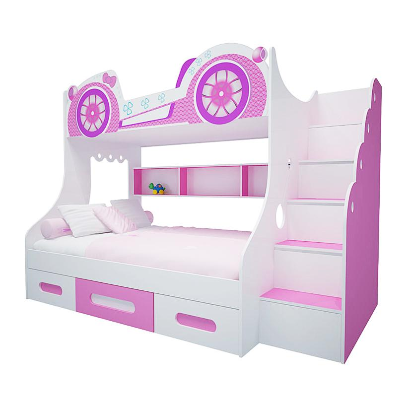 Giường tầng Ibie hình bánh xe FCH135X 250 x 120 x 180 cm (Hồng)
