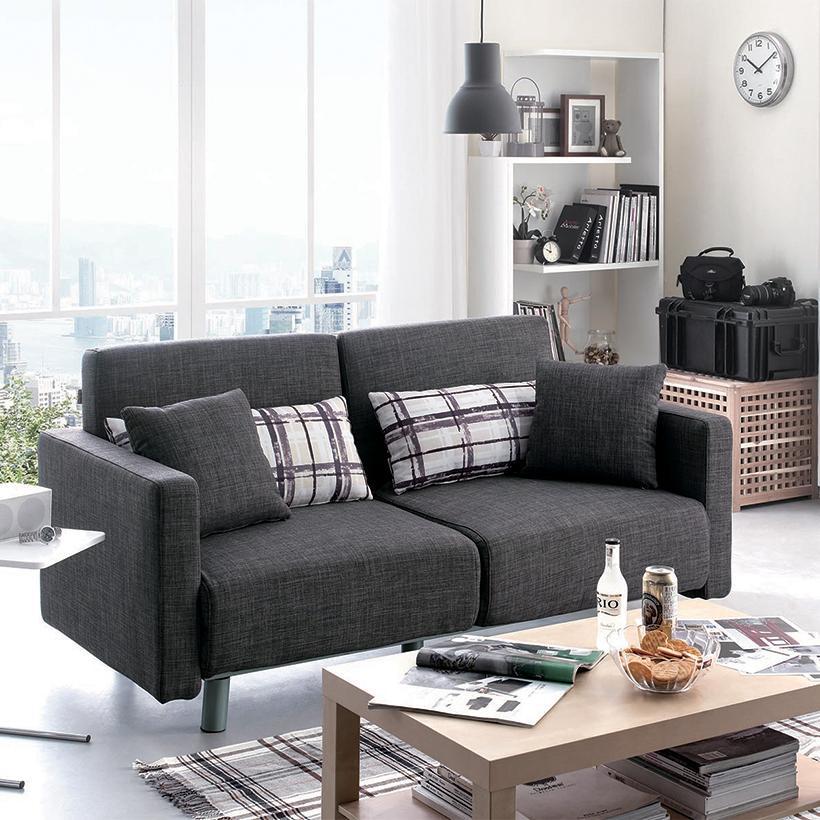 Sofa giường lật dọc Fashion Home AG-132 kèm 2 gối chữ nhật, 2 gối vuông (Xám)