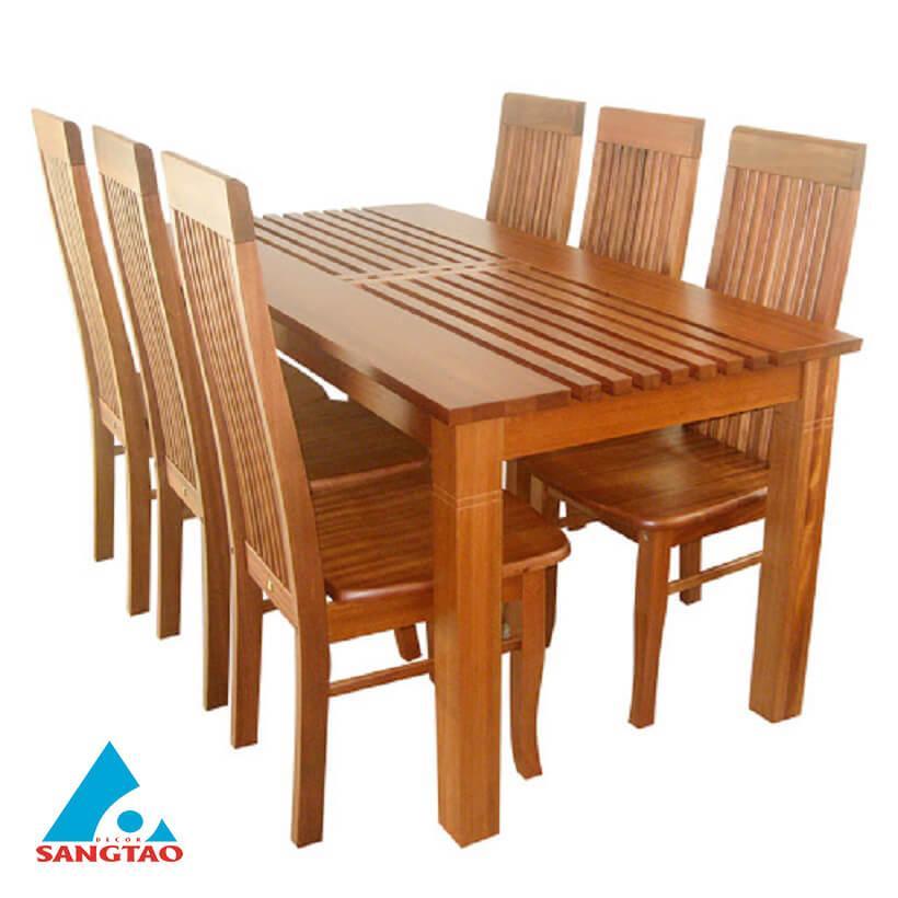 Bộ bàn ghế gỗ An Cường 6 chỗ ngồi